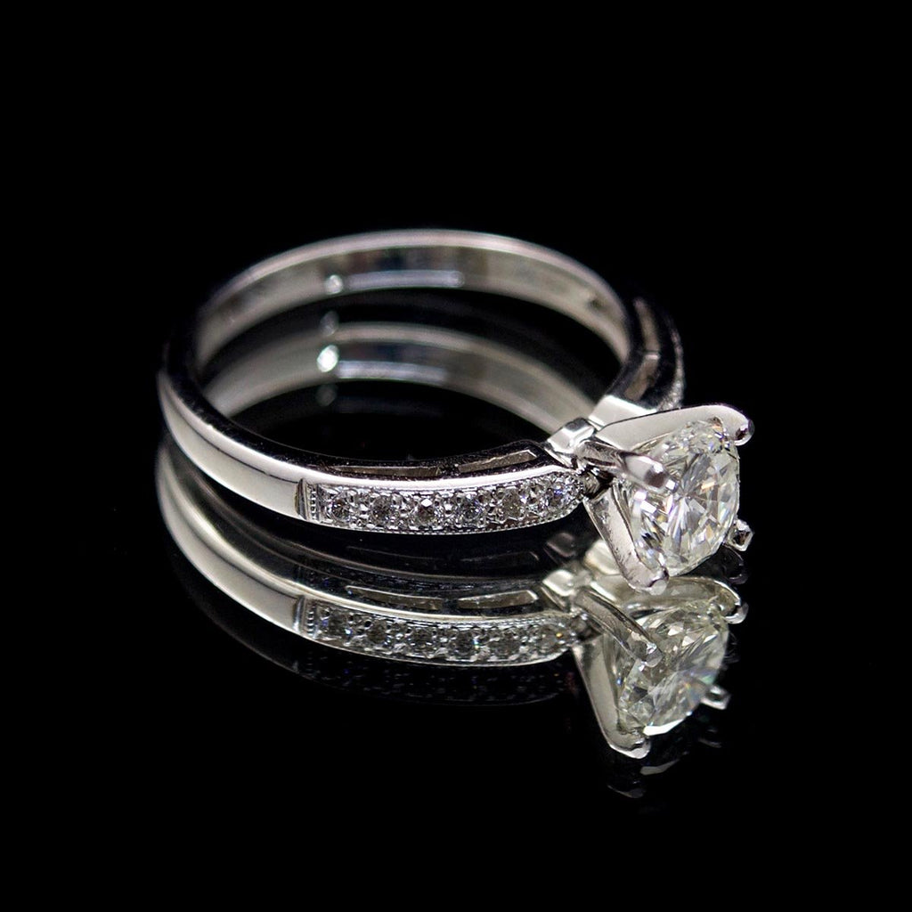 18ct White Gold Solitaire Diamond Engagement Ring with Pavé Shoulders side profile, sold at Nouveau Jewellers in Manchester