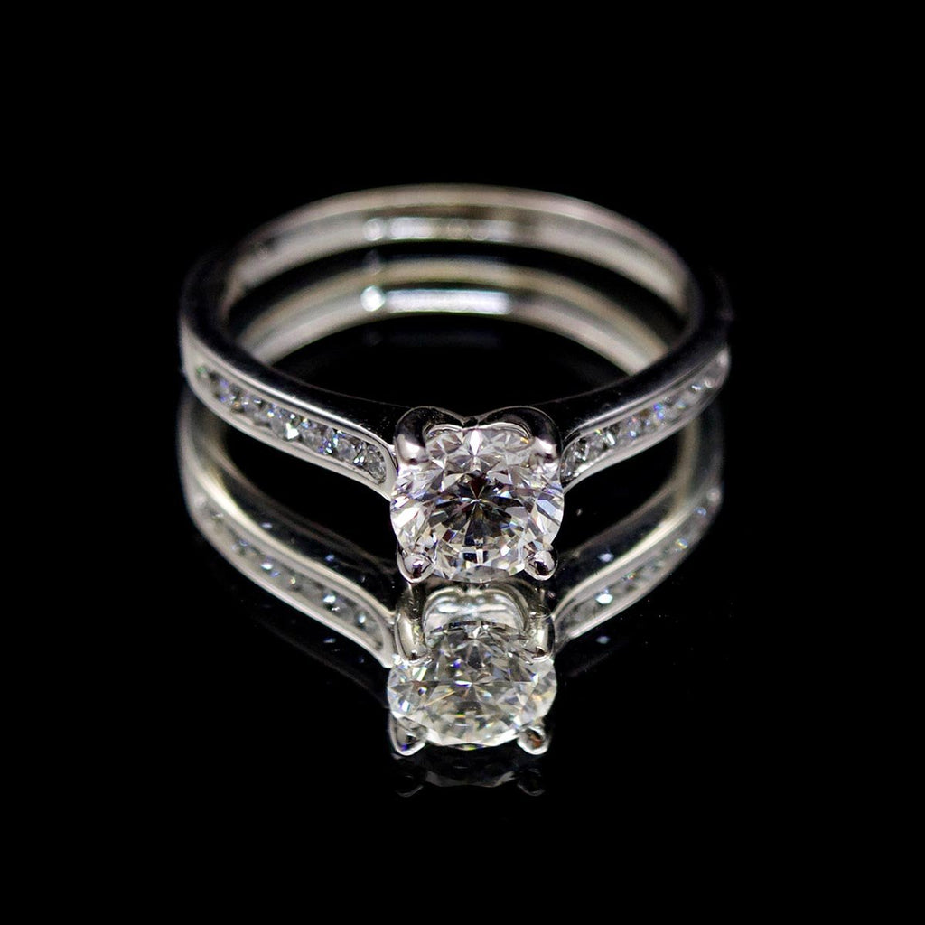 Platinum Solitaire Diamond Engagement Ring,  sold at Nouveau Jewellers in Manchester
