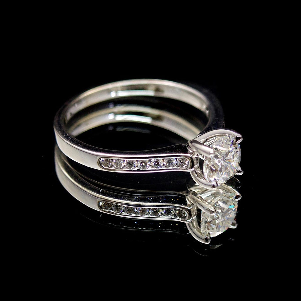 Platinum Solitaire Diamond Engagement Ring side profile, sold at Nouveau Jewellers in Manchester