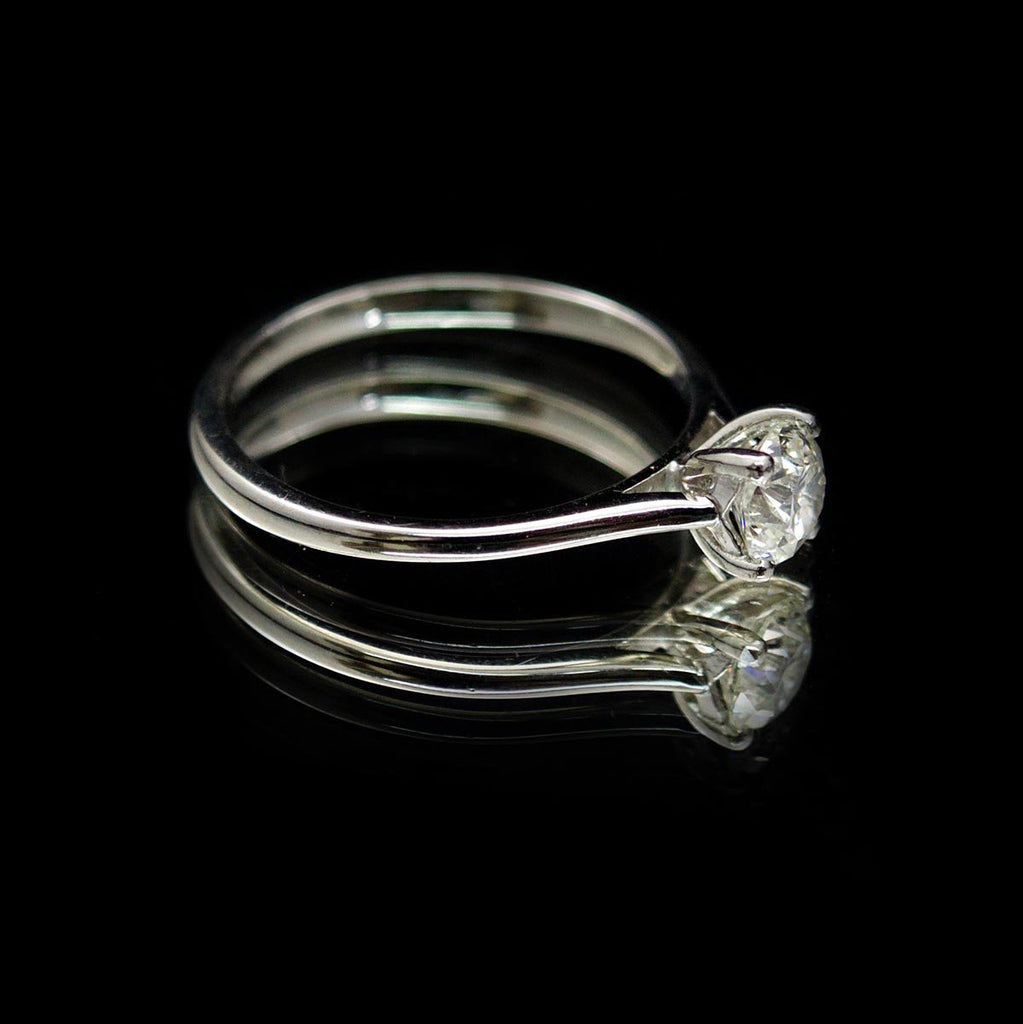 Platinum Classic Solitaire Engagement Ring side profile, sold at Nouveau Jewellers Manchester