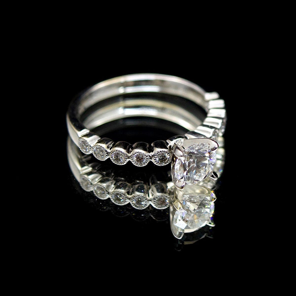 18ct White Gold Solitaire Diamond Engagement Ring side profile, sold Nouveau Jewellers in Manchester