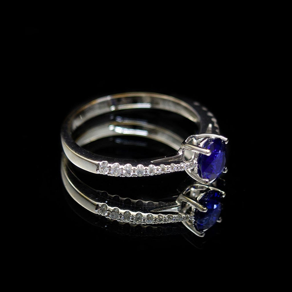 18ct White Gold Sapphire & Diamond Ring - Nouveau Jewellers