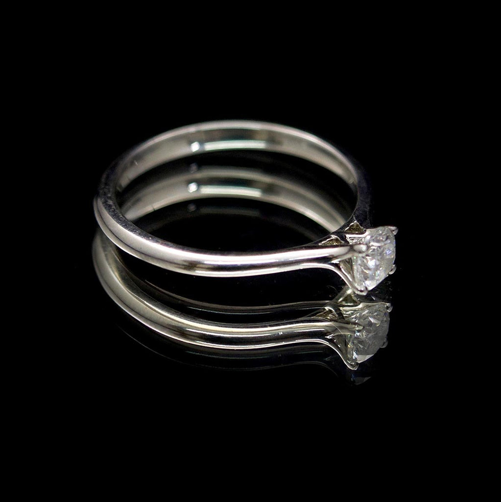 Timeless Platinum Diamond Engagement Ring side profile, sold at Nouveau Jewellers in Manchester
