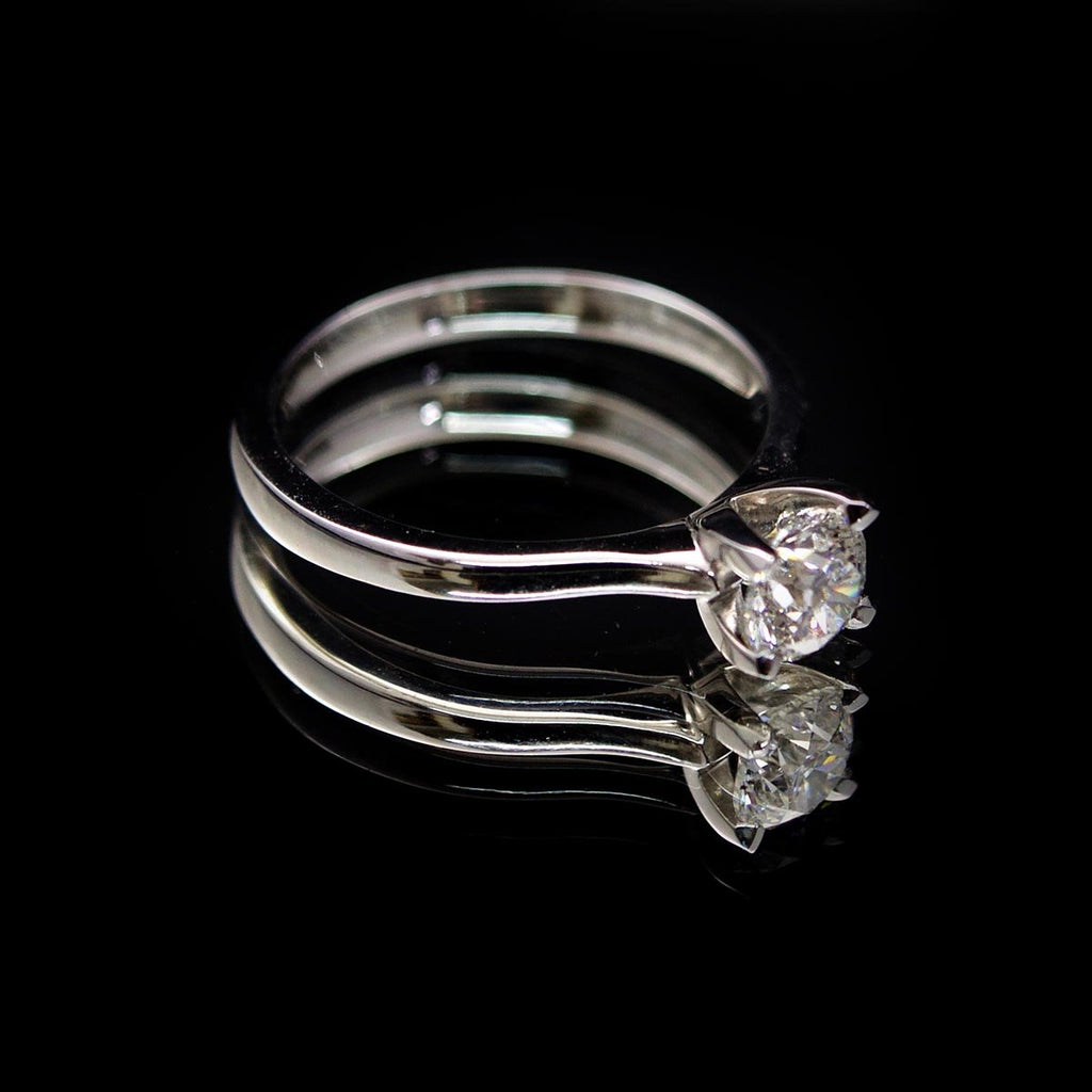 18ct Elegant Solitaire Diamond Engagement Ring side profile, sold at Nouveau Jewellers in Manchester