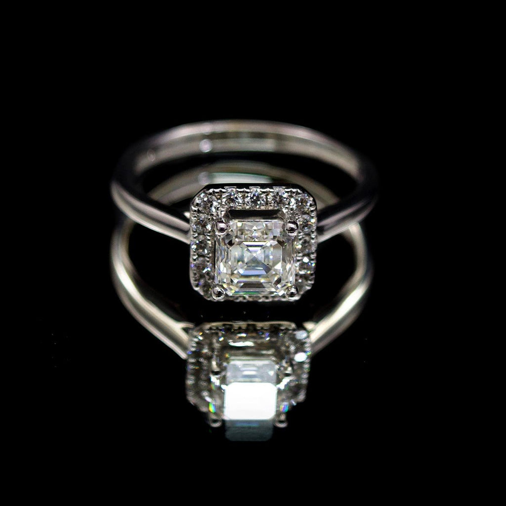 18ct White Gold Asher Cut Diamond Halo - Nouveau Jewellers