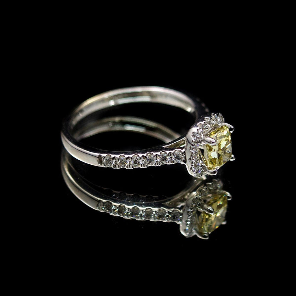 18ct White Gold Cushion Cut Halo Yellow Diamond Engagement Ring side profile, sold at Nouveau Jewellers in Manchester
