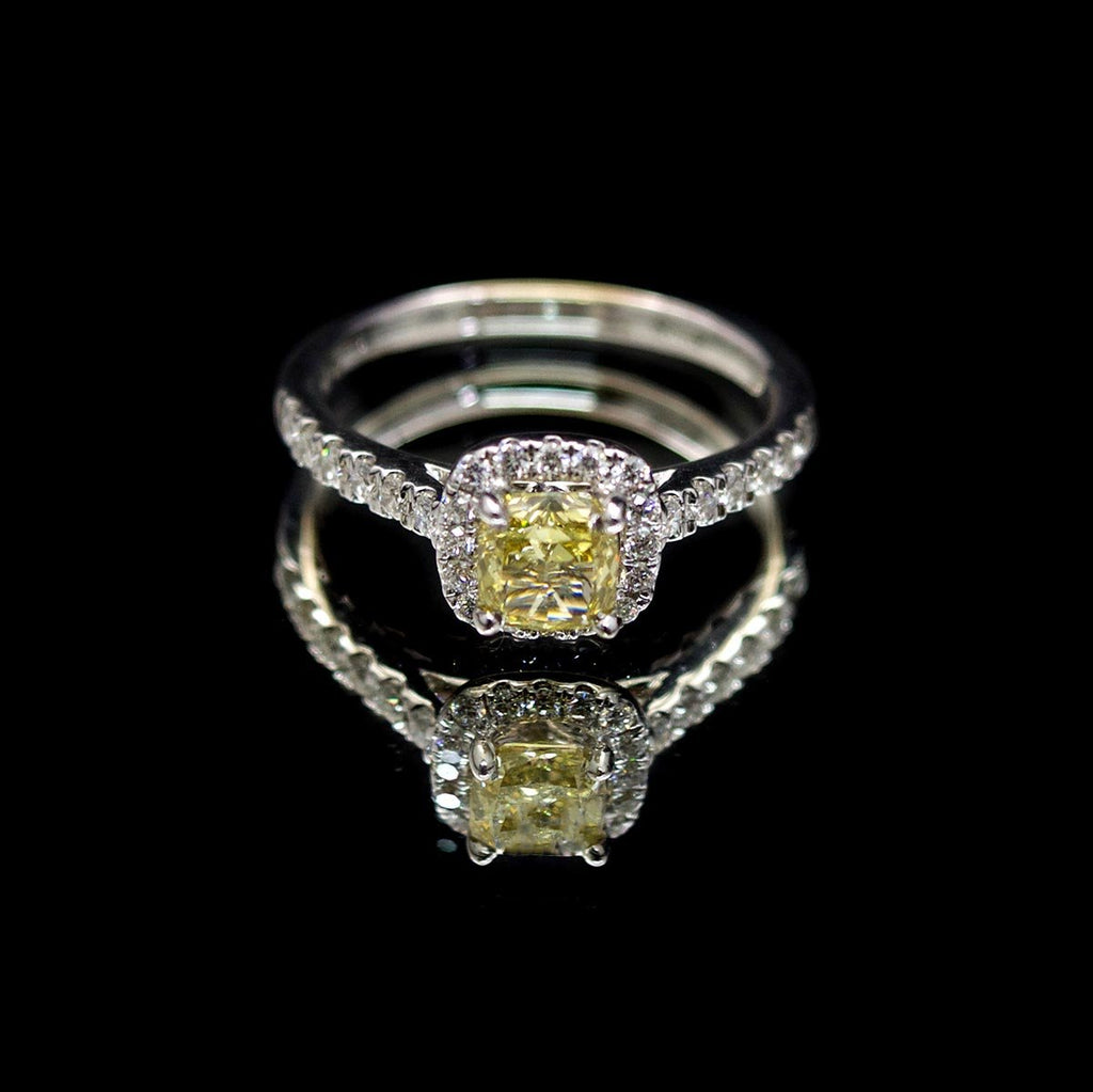 18ct White Gold Cushion Cut Halo Yellow Diamond Engagement Ring, sold at Nouveau Jewellers in Manchester