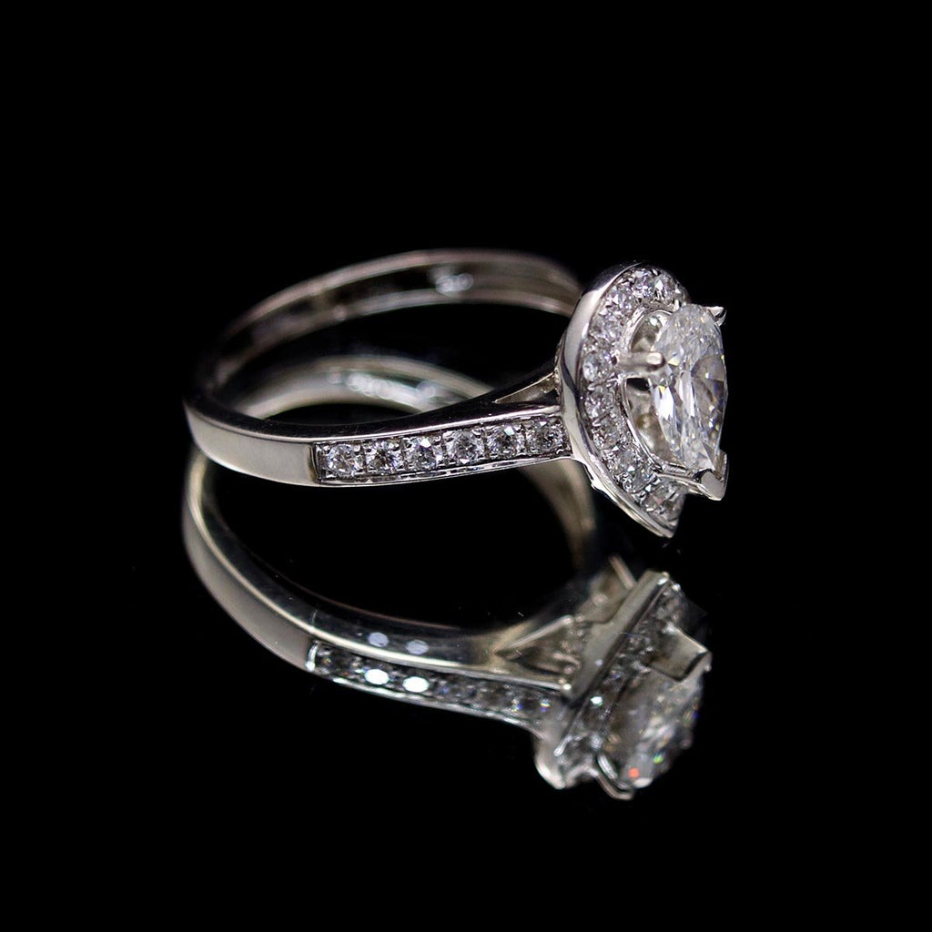 18ct White Gold Pear Shaped Halo Diamond Engagement Ring side profile, sold at Nouveau Jewellers in Manchester