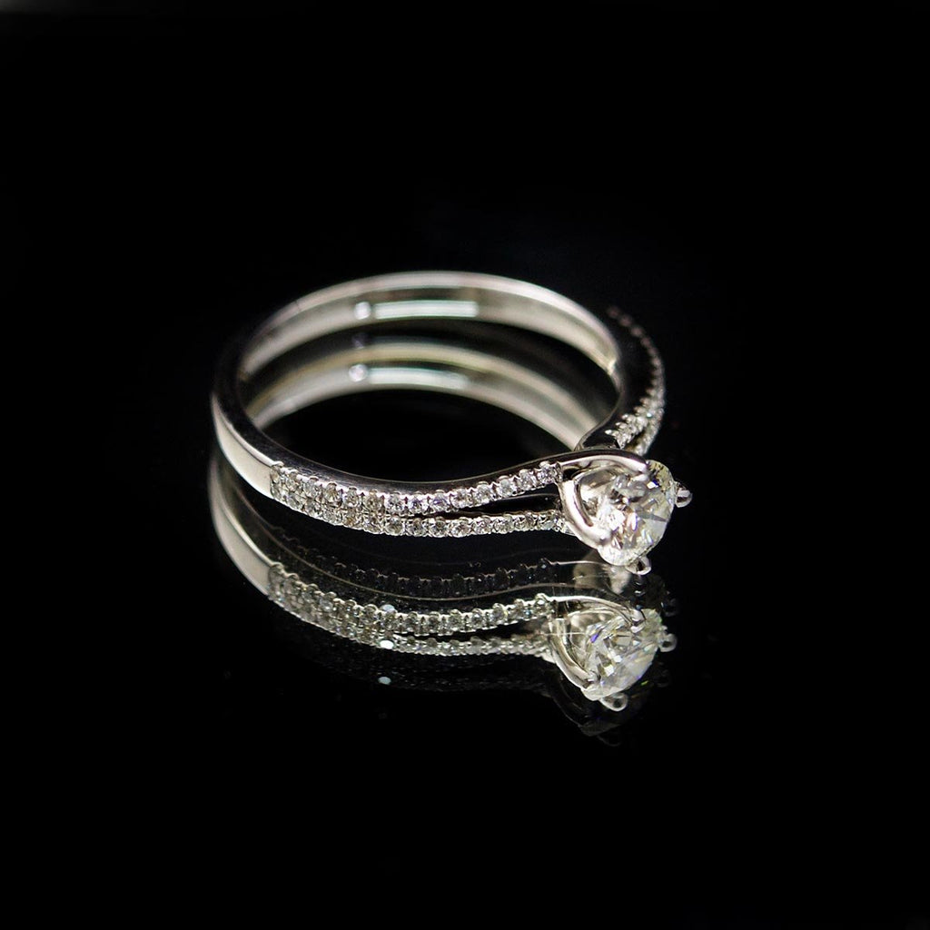 18ct White Gold Solitaire Diamond Engagement Ring side profile, sold at Nouveau Jewellers in Manchester