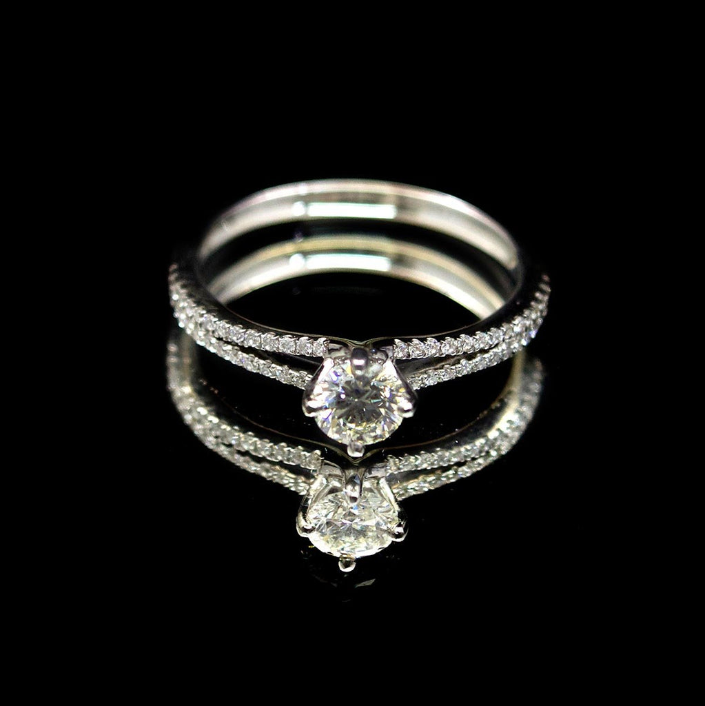 18ct White Gold Solitaire Diamond - Nouveau Jewellers