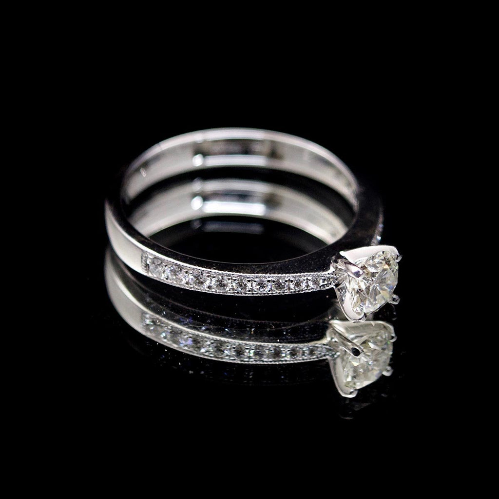 18ct Nouveau Round Diamond Engagement Ring side profile, sold at Nouveau Jewellers in Manchester