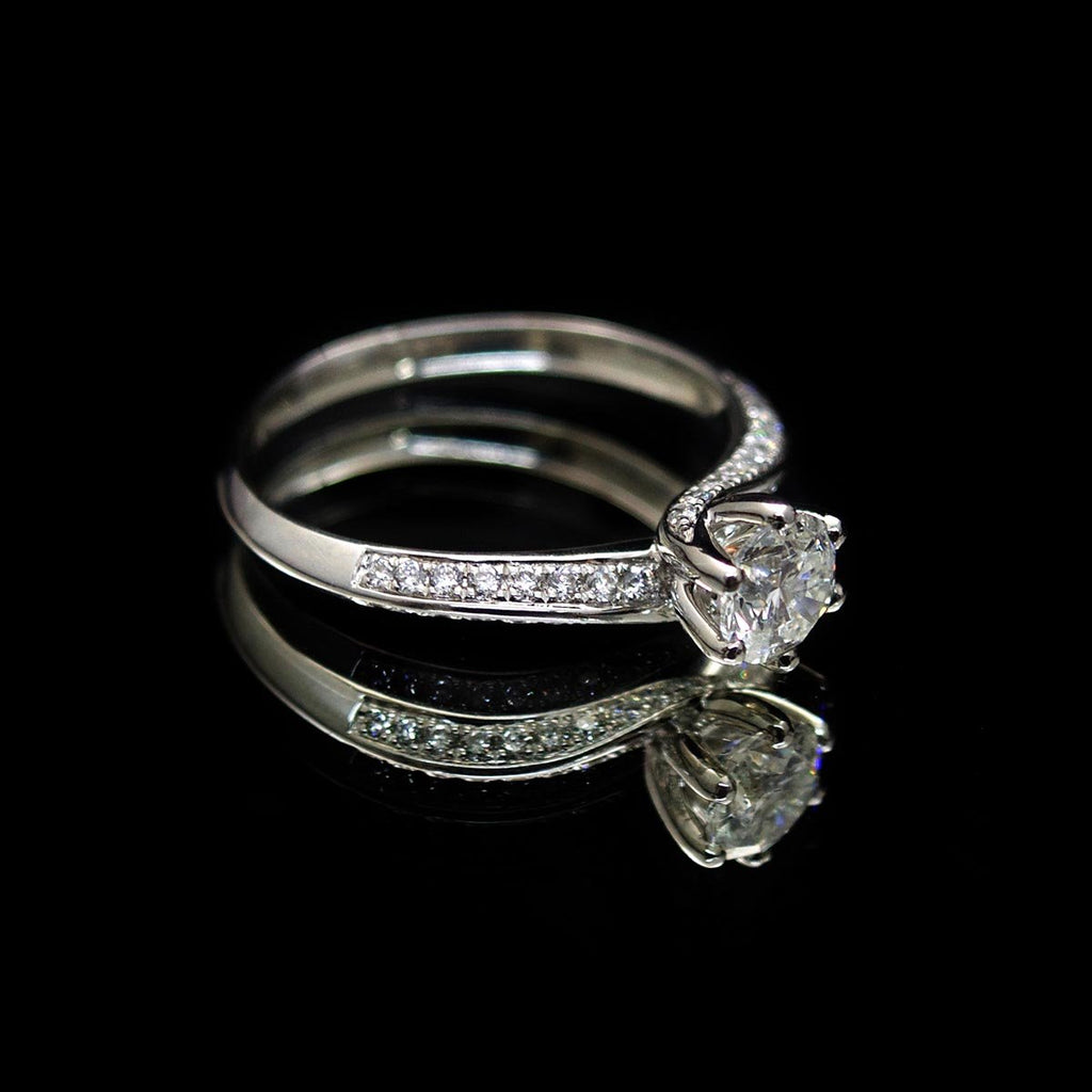 Platinum Twist Diamond Engagement Ring side profile, sold at Nouveau Jewellers in Manchester