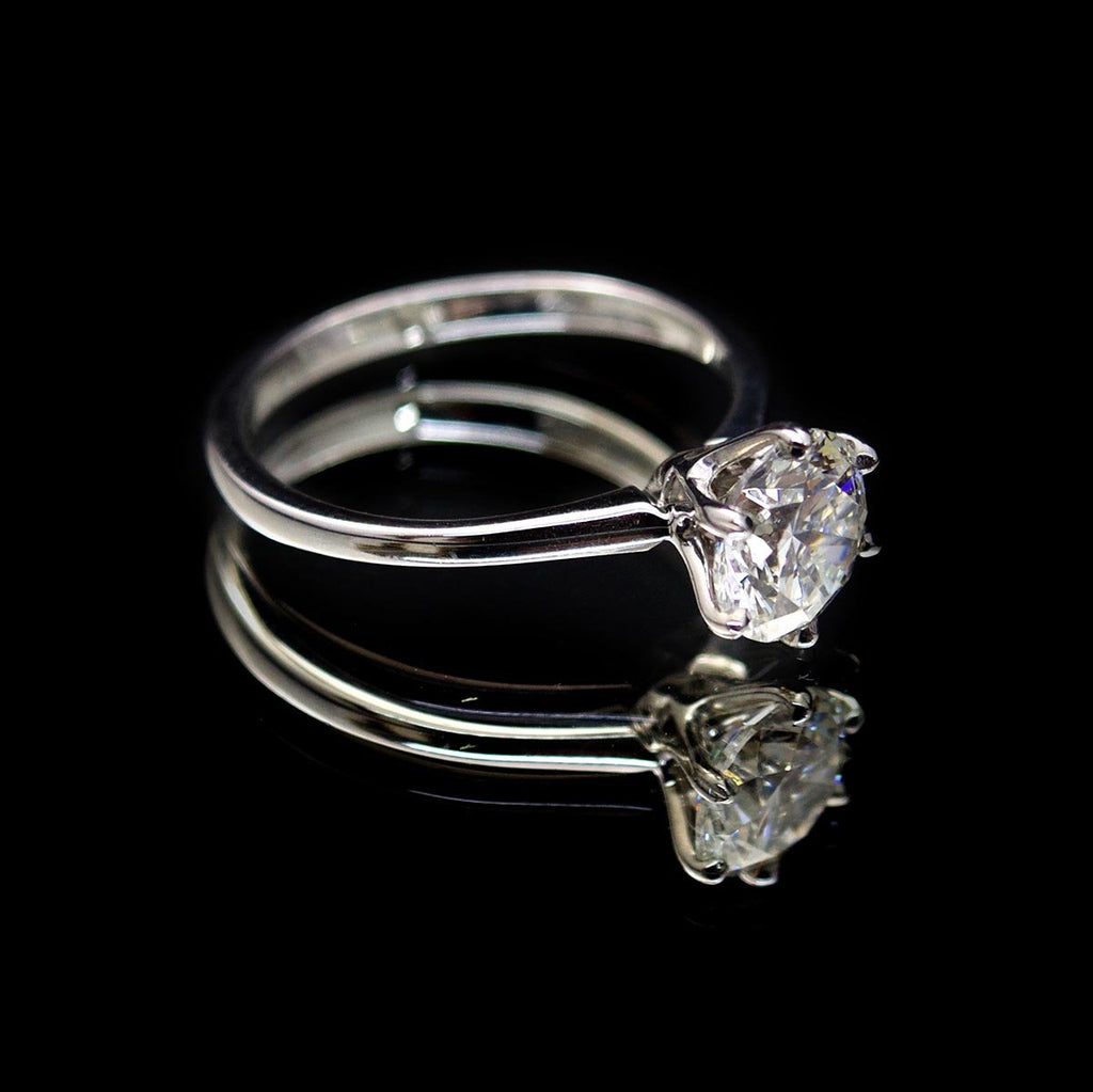 18ct Gold Duchess Solitaire Diamond Engagement Ring side profile, sold at Nouveau Jewellers in Manchester