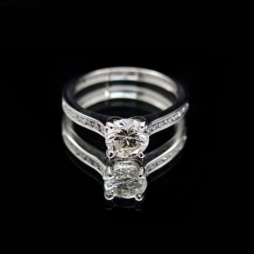 18ct White Gold Signature Round Solitaire Diamond Engagement Ring, sold at Nouveau Jewellers in Manchester
