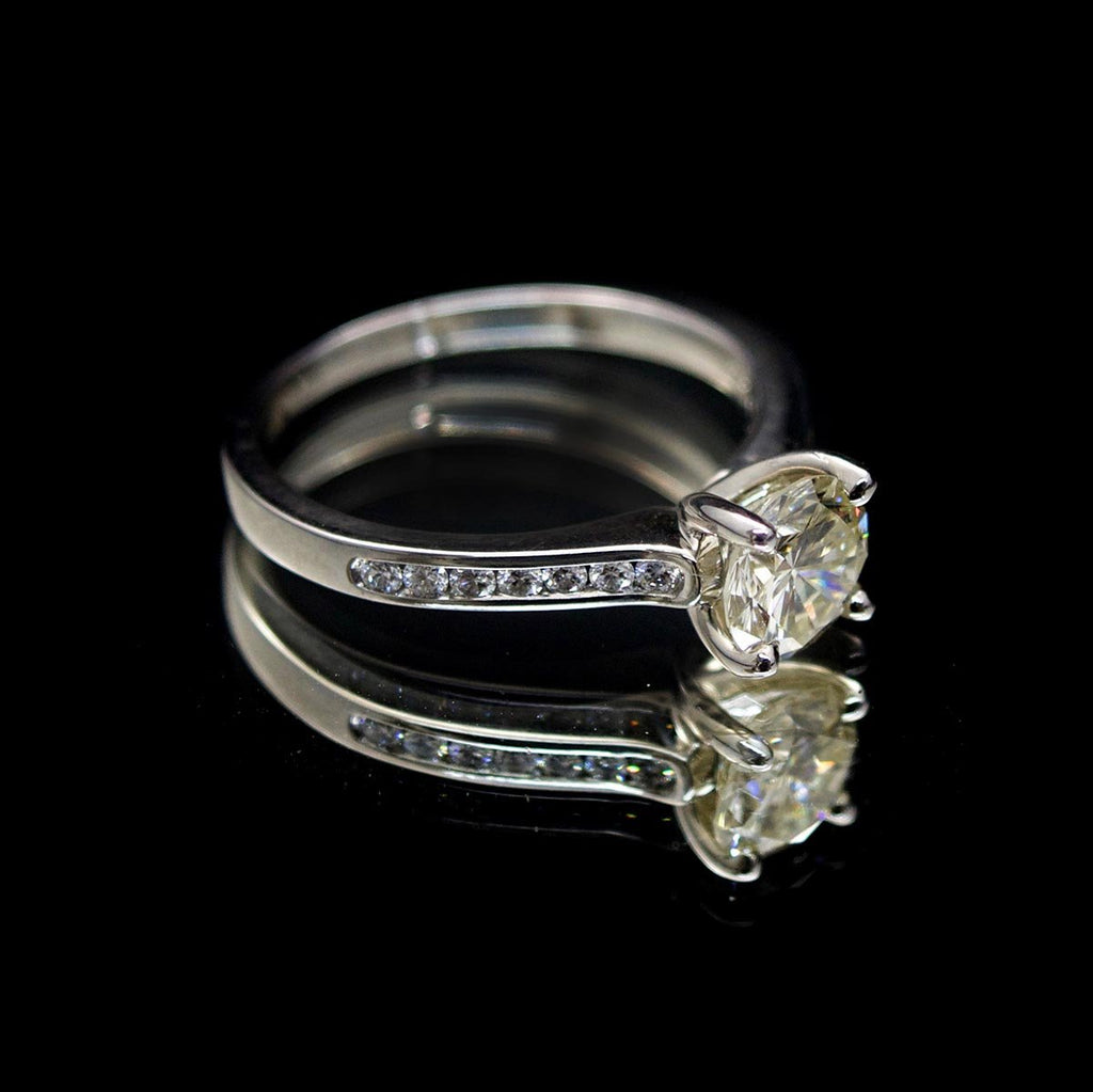 18ct White Gold Signature Brilliant Cut Diamond Engagement Ring side profile, sold at Nouveau Jewellers in Manchester