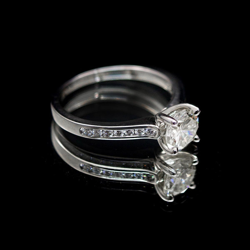 18ct White Gold Signature Round Solitaire Diamond Engagement Ring side profile, sold at Nouveau Jewellers in Manchester