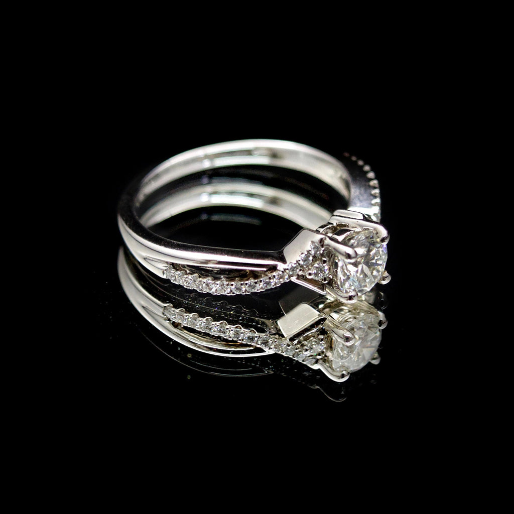 18ct Intricate Solitaire Diamond Engagement Ring side profile, sold at Nouveau Jewellers in Manchester