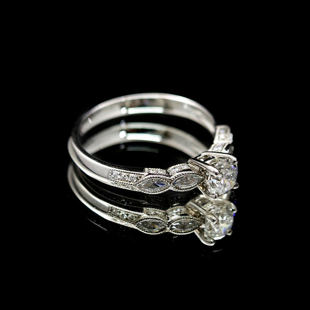 18ct Gold Marquise Diamond Engagement Ring side profile, sold at Nouveau Jewellers in Manchester