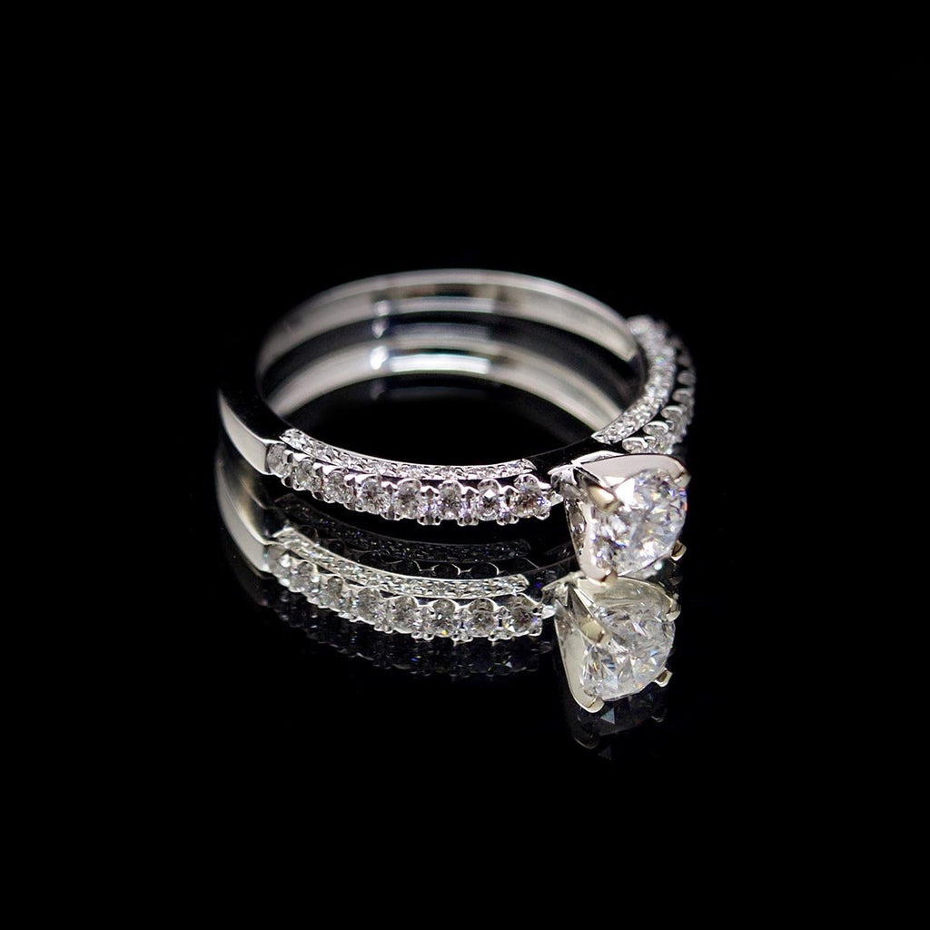 18ct White Gold Vintage Style Solitaire Diamond Engagement Ring side profile, sold at Nouveau Jewellers in Manchester
