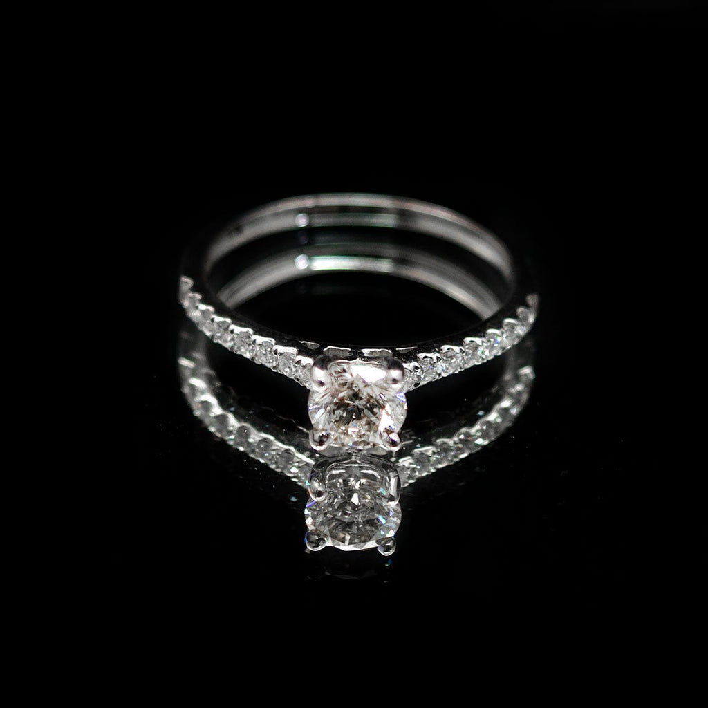 18ct White Gold Vintage Set Solitaire Diamond Cluster Engagement Ring, sold at Nouveau Jewellers in Manchester