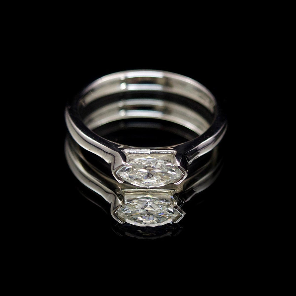 Platinum Marquise Diamond Engagement Ring, sold at Nouveau Jewellers in Manchester