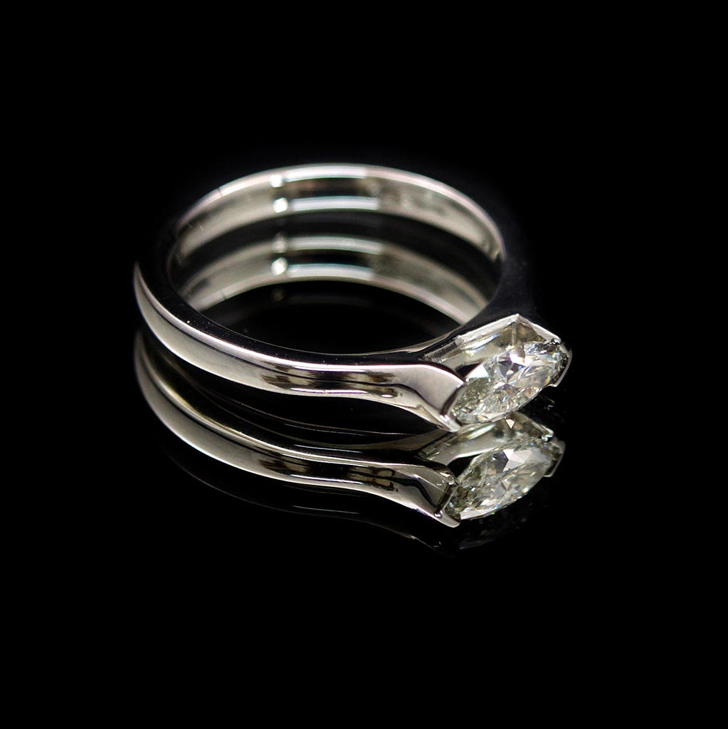 Platinum Marquise Diamond Engagement Ring side profile, sold at Nouveau Jewellers in Manchester