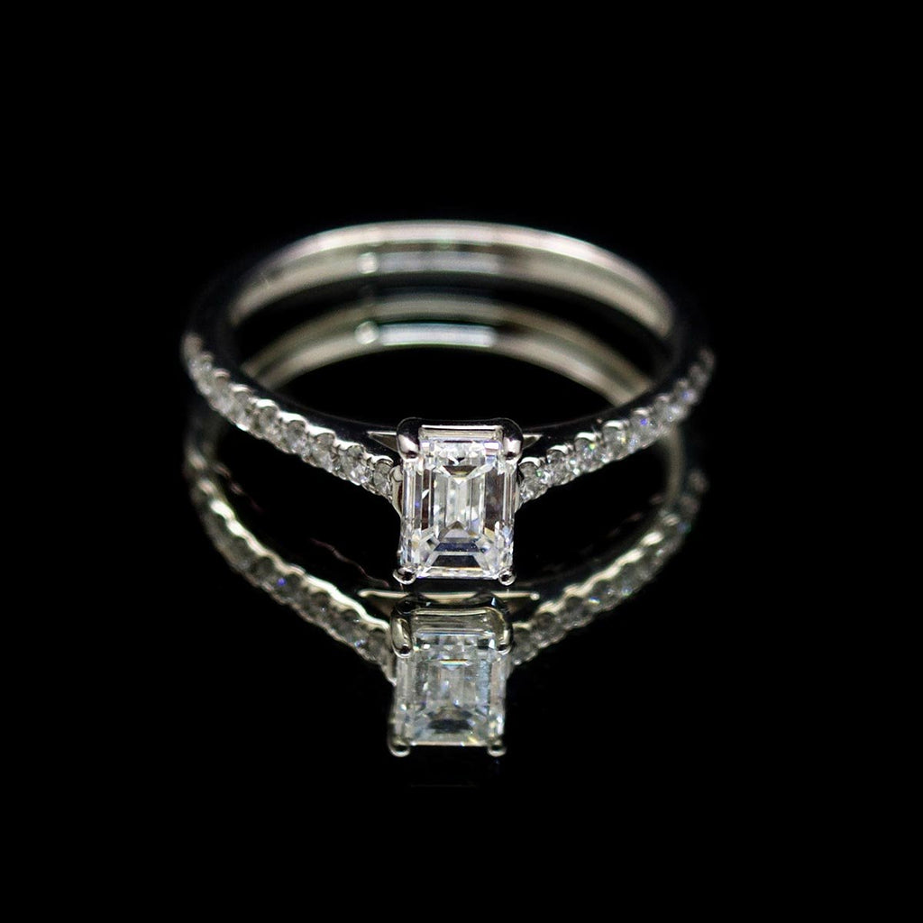Platinum Emerald Cut Diamond Engagement Ring, sold at Nouveau Jewellers in Manchester