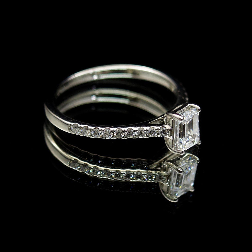 Platinum Emerald Cut Diamond Engagement Ring side profile, sold at Nouveau Jewellers in Manchester