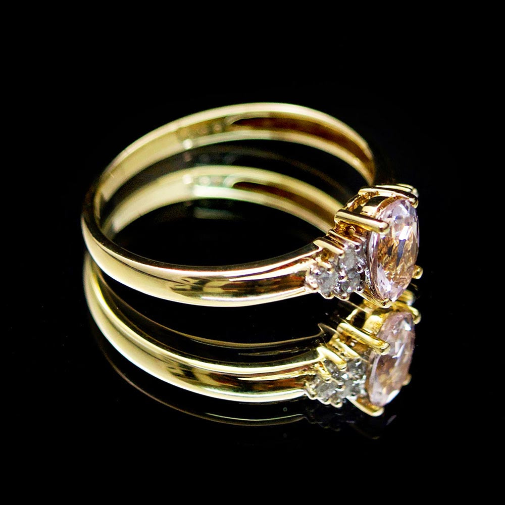 Pink Kunzite and diamond ring, 9ct gold ring, brilliant cut diamond, nouveau jewellers, jewellers in manchester
