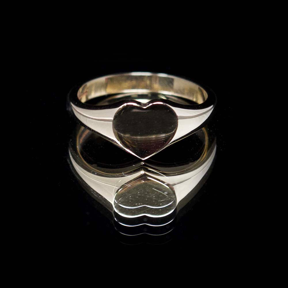 Gold signet ring, nouveau jewellers, mens gold heart signet ring, manchester jewellers