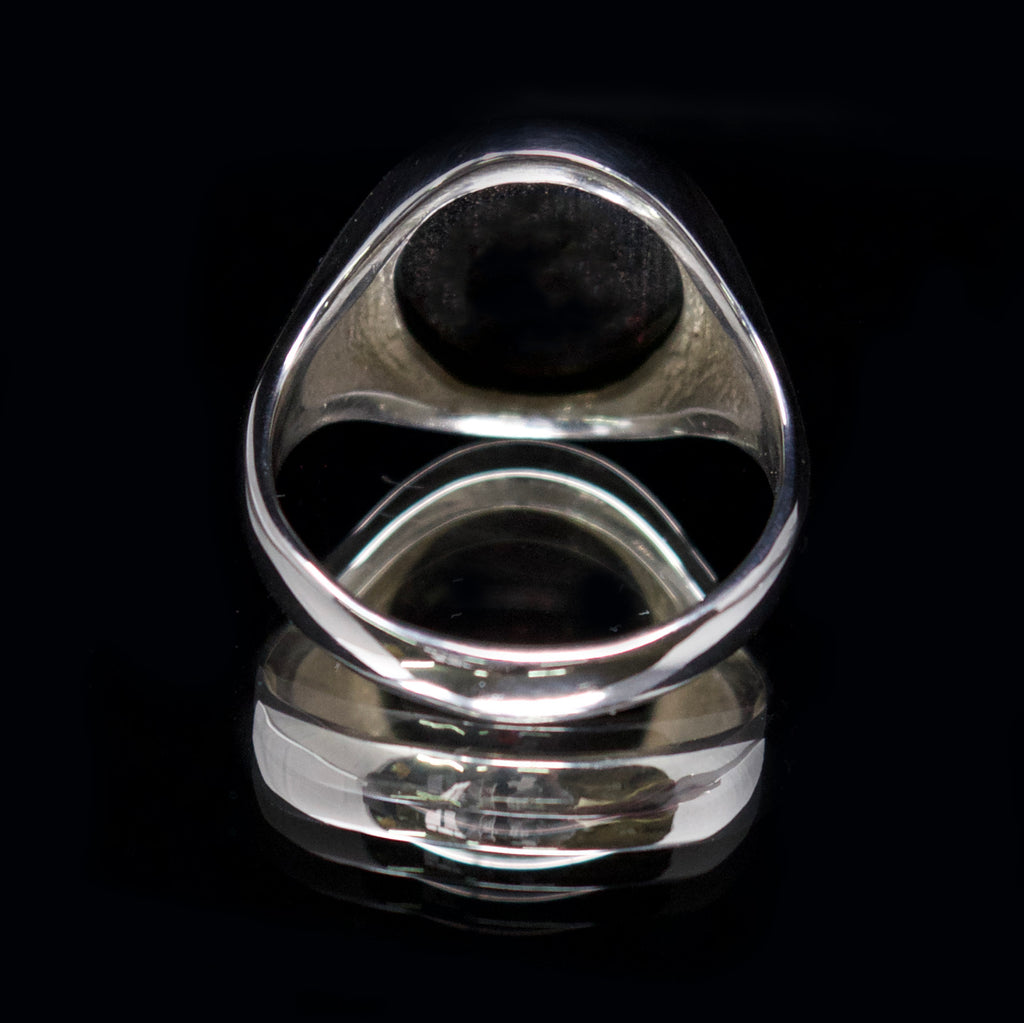 silver garnet signet ring, nouveau jewellers, signer ring with stone, jewellers in manchester