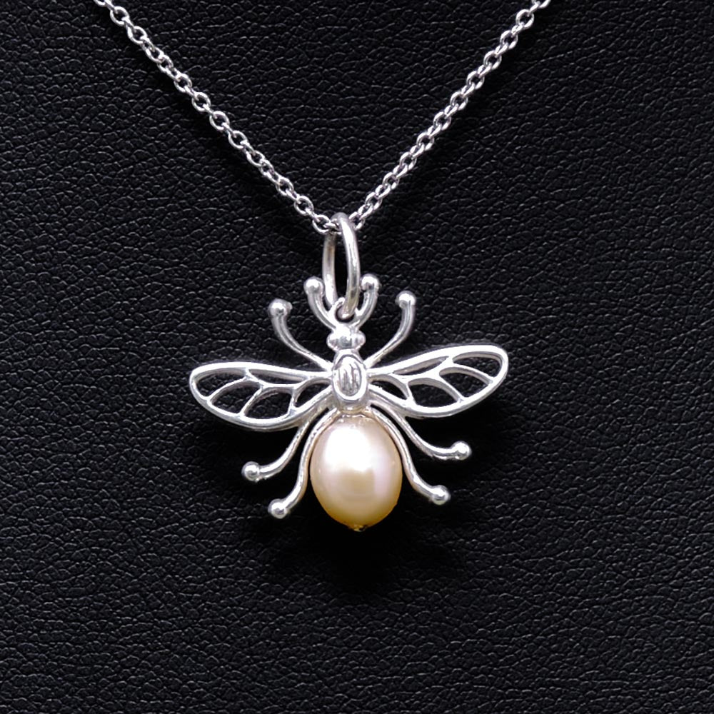 Manchester Worker Bee Solid Silver Pendant Necklace from Nouveau Jewellers Manchester
