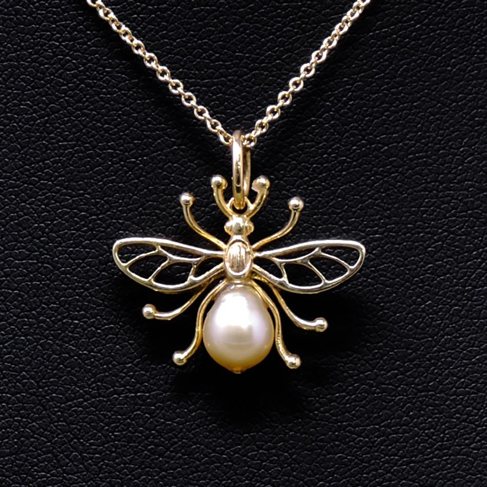 Manchester Worker Bee Solid Yellow Gold Pendant Necklace from Nouveau Jewellers Manchester