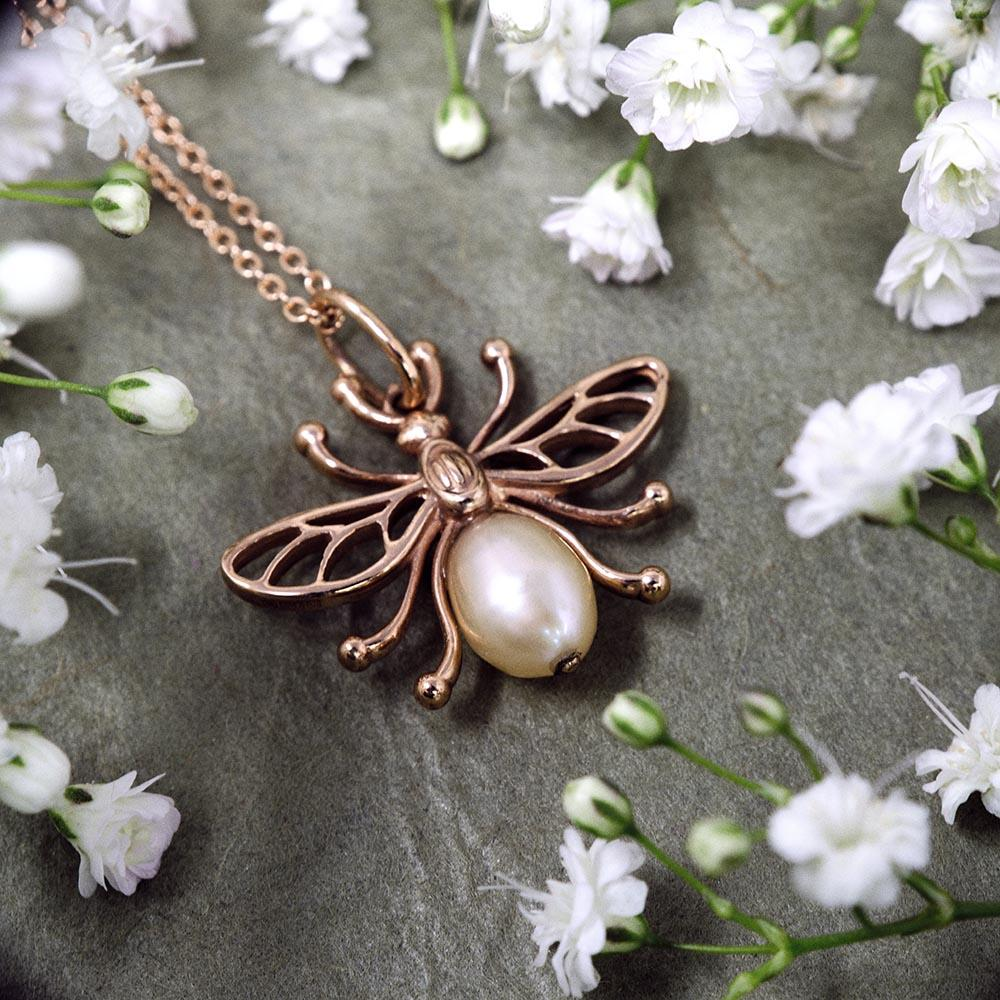 Manchester Worker Bee Solid Rose Gold Pendant Necklace from Nouveau Jewellers Manchester