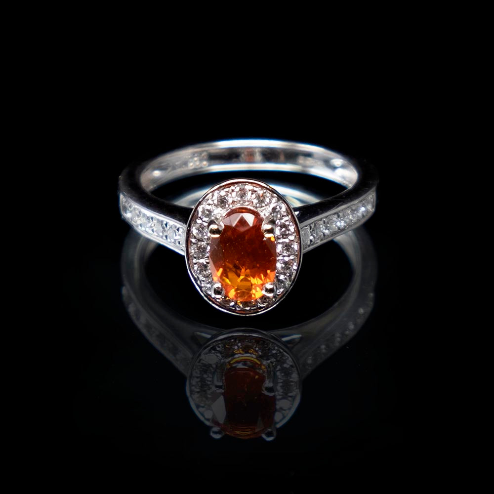 Mexican Fire Opal Diamond Ring