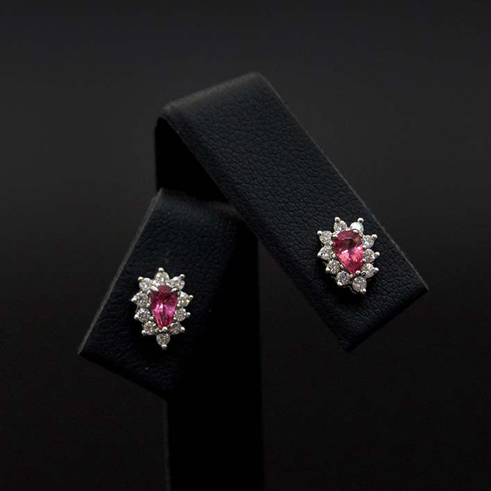 18ct White Gold Pink Tourmaline and Diamond Studs close up, sold at Nouveau Jewellers in Manchester