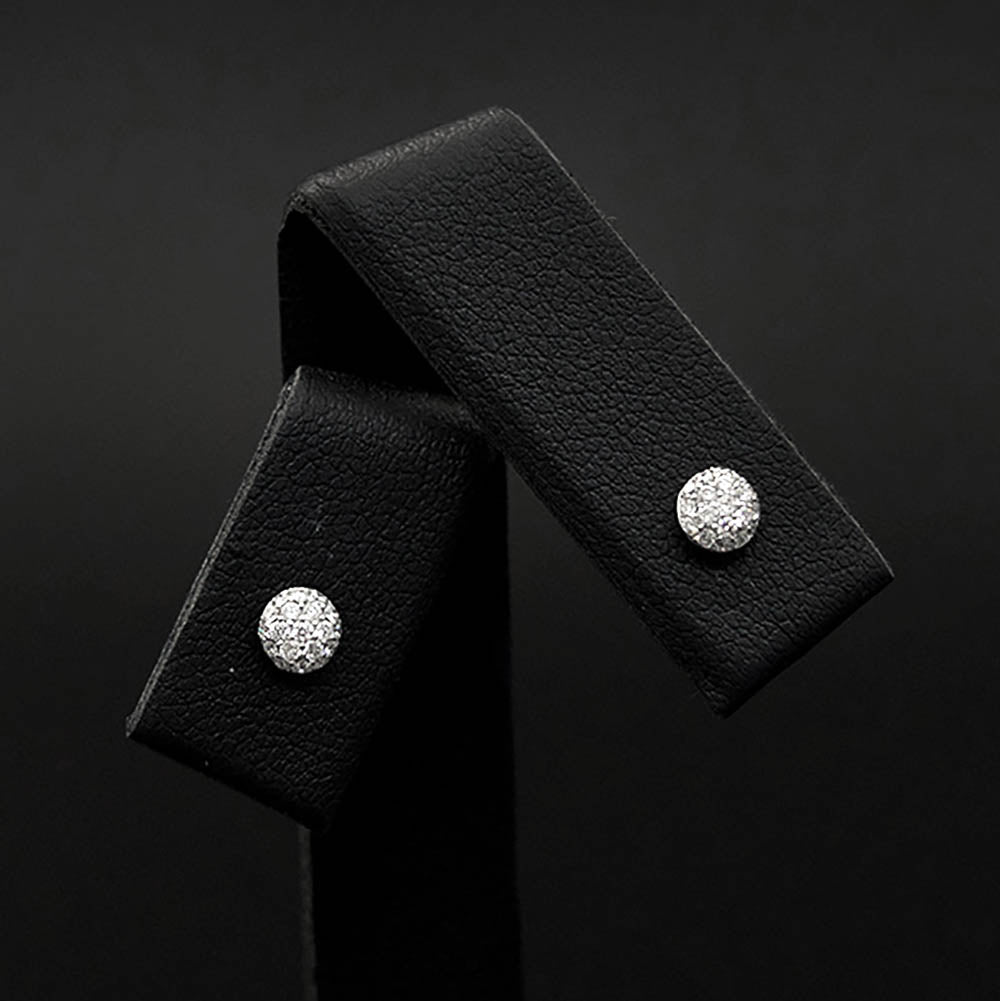 18ct White Gold Pavé Brilliant Diamond Stud Earrings close up, sold at Nouveau Jewellers in Manchester