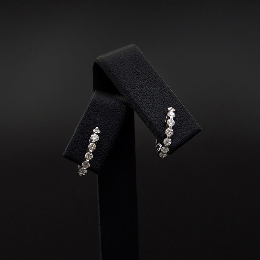 18ct White Gold Elegant Diamond Hoop Earrings, sold at Nouveau Jewellers in Manchester