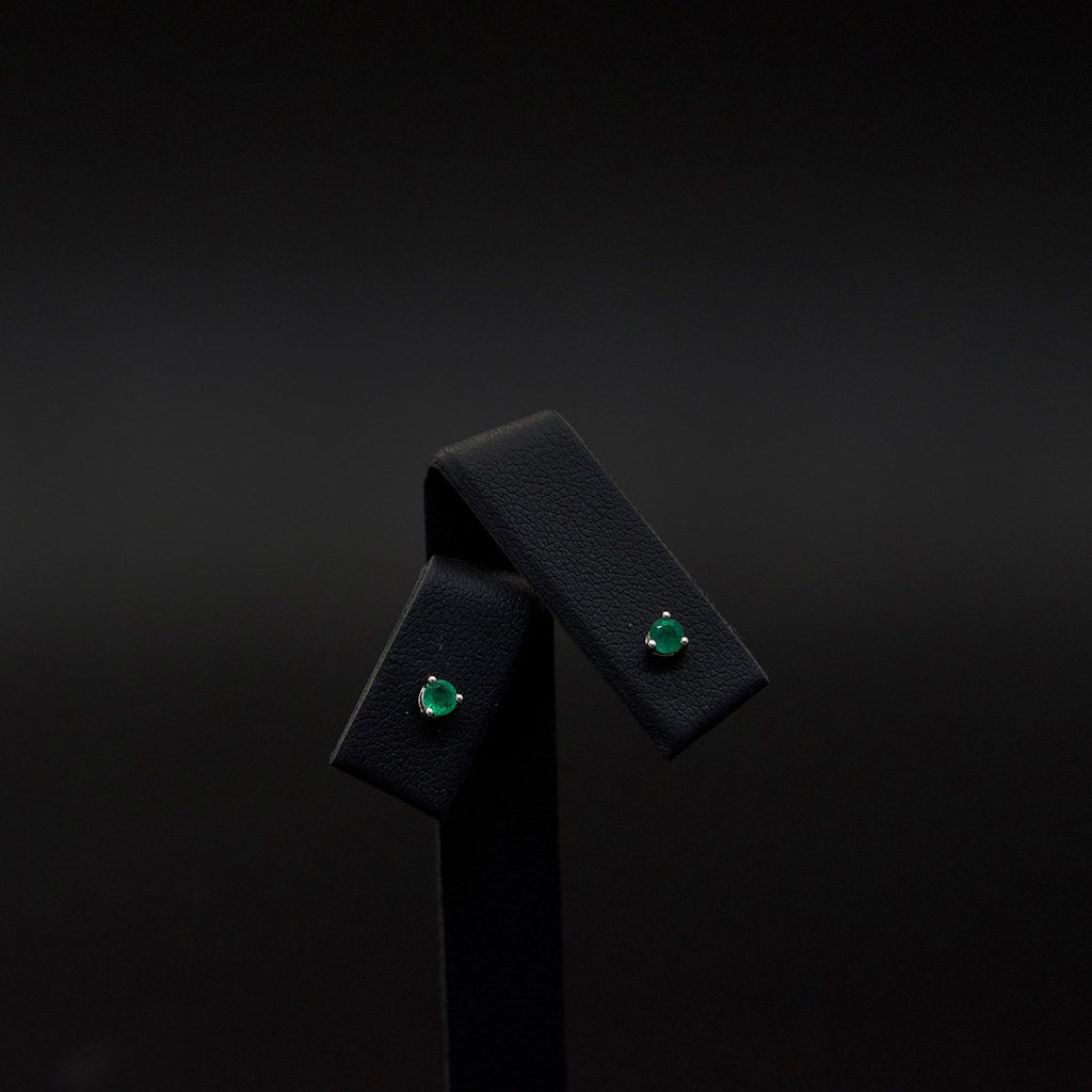 18ct White Gold Contemporary Round Emerald Studs, sold at Nouveau Jewellers in Manchester
