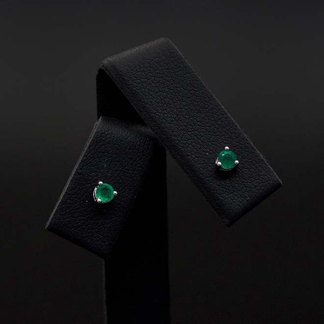 18ct White Gold Contemporary Round Emerald Studs Close Up, sold at Nouveau Jewellers in Manchester
