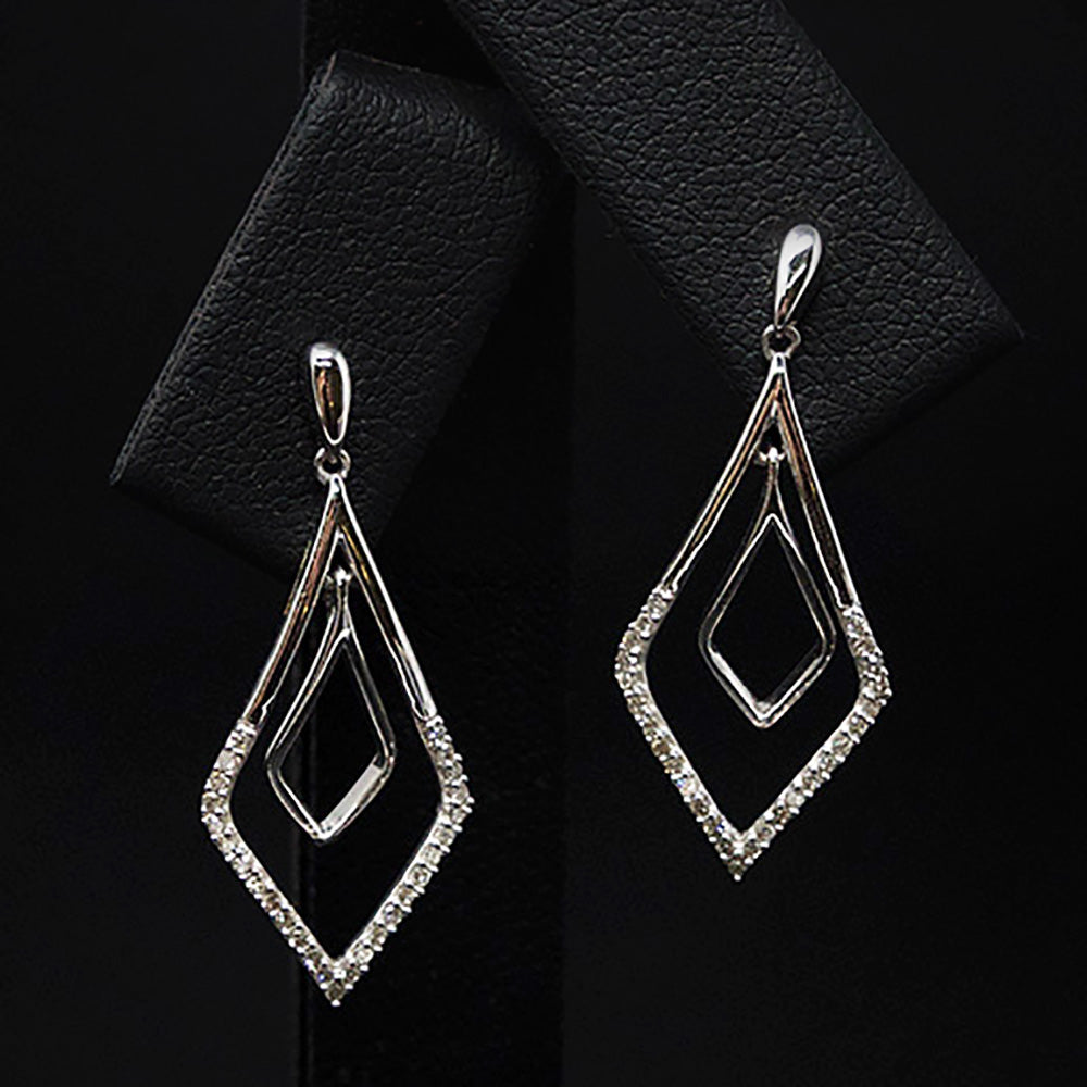 9ct White Gold Art Deco Diamond Pendant Earrings Close Up, sold at Nouveau Jewellers in Manchester
