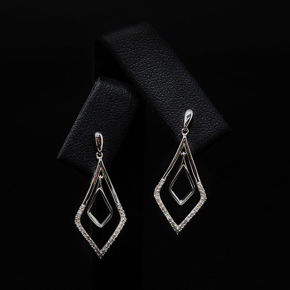 9ct White Gold Art Deco Diamond Pendant Earrings, sold at Nouveau Jewellers in Manchester