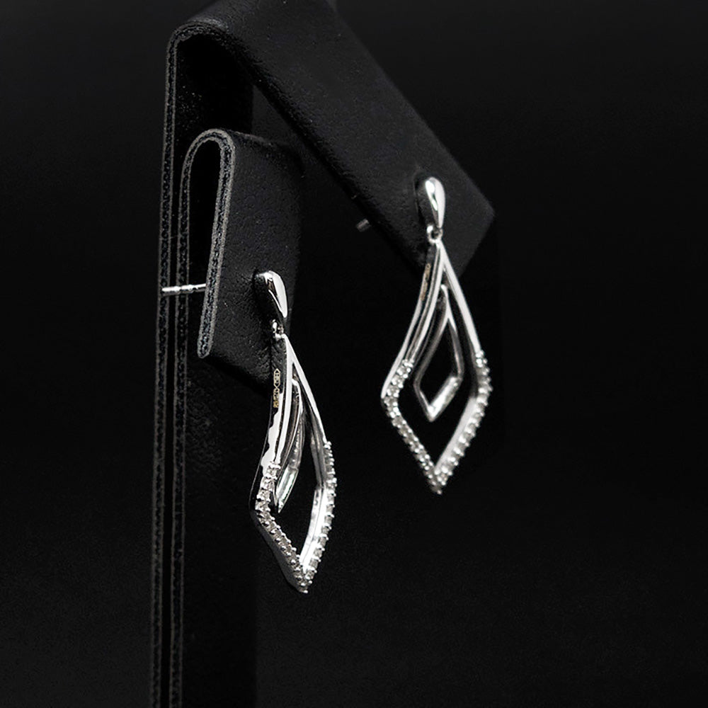 9ct White Gold Art Deco Diamond Pendant Earrings side profile, sold at Nouveau Jewellers in Manchester