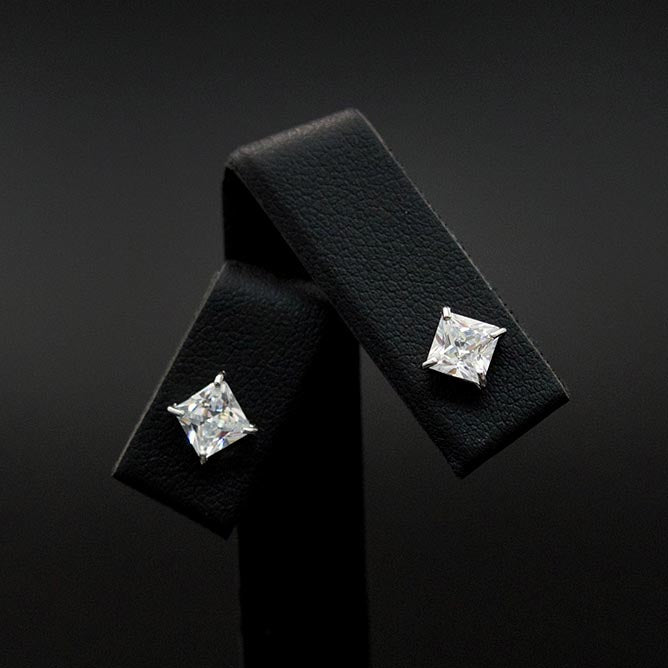 18ct White Gold Cubic Zirconia Stud Earrings close up, sold at Nouveau Jewellers in Manchester