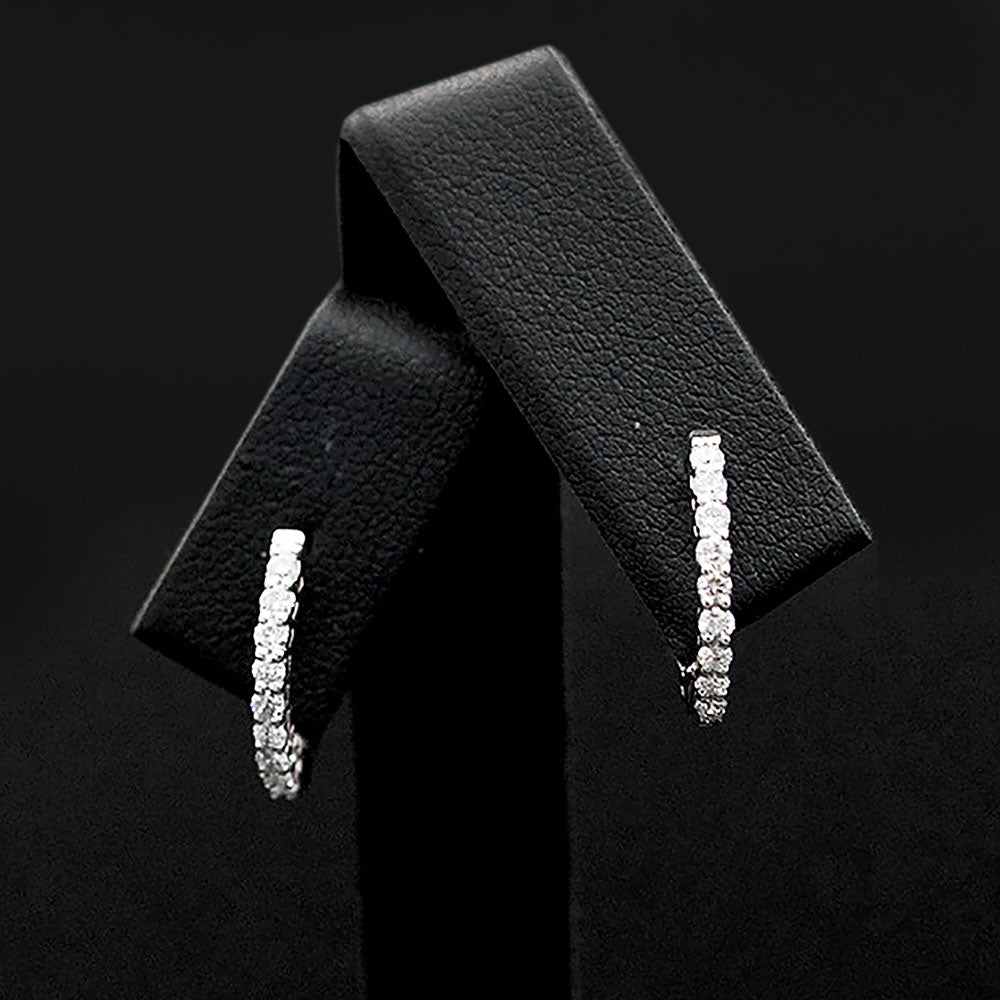 18ct White Gold Diamond Hoop Earrings close up, sold at Nouveau Jewellers in Manchester