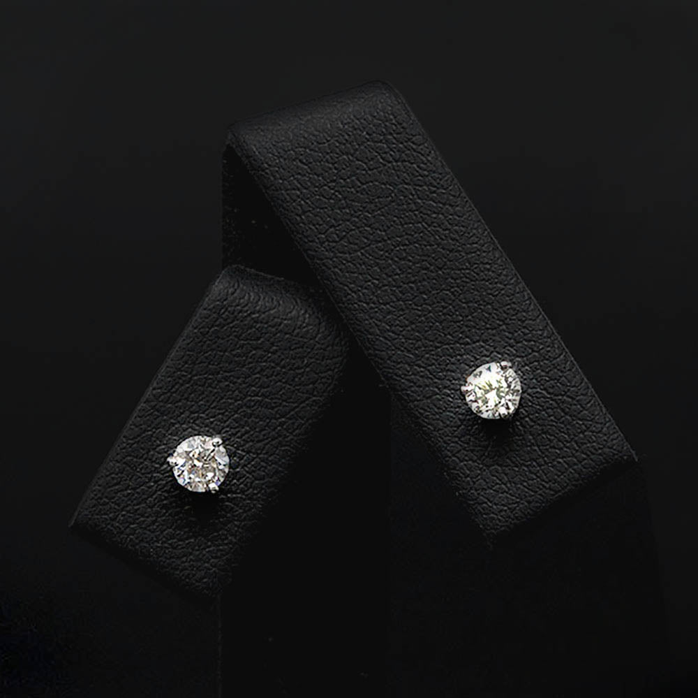 18ct White Gold Elegant Diamond Stud Earrings Close Up, sold at Nouveau Jewellers in Manchester
