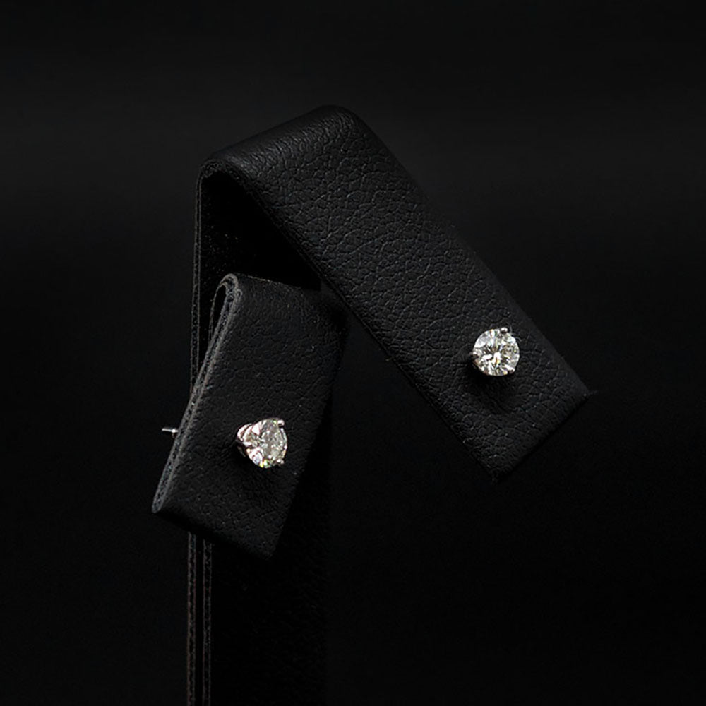 18ct White Gold Elegant Diamond Stud Earrings different angle, sold at Nouveau Jewellers in Manchester