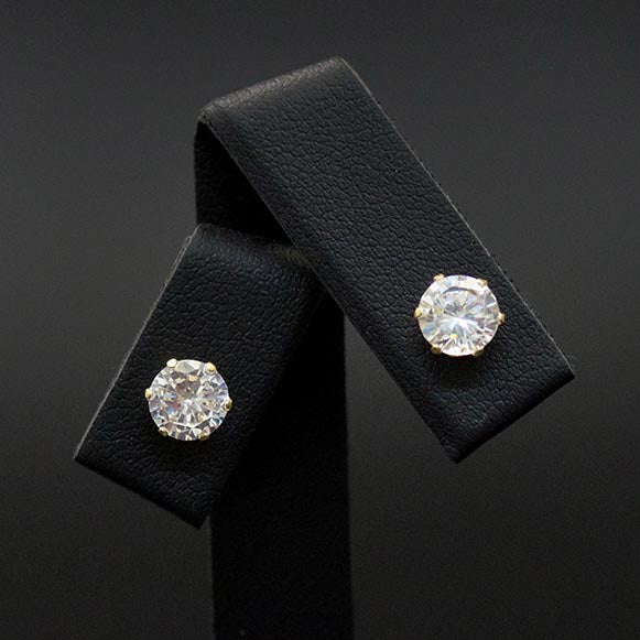9ct Yellow Classic Cubic Zirconia Studs Close Up, sold at Nouveau Jewellers in Manchester