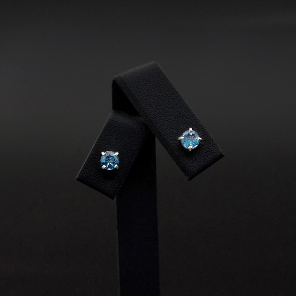 18ct White Gold London Blue Topaz studs, sold at Nouveau Jewellers in Manchester