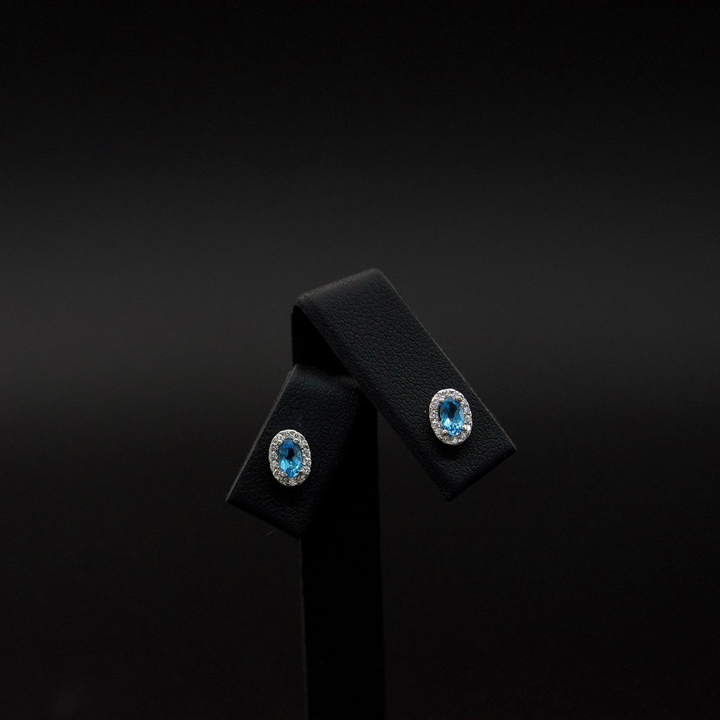 "18ct Gold, ""London Blue"" Topaz and Diamond Stud Earrings - Nouveau Jewellers"